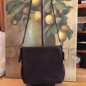 Coach Brown Flat Flap Crossbody Messenger Bag